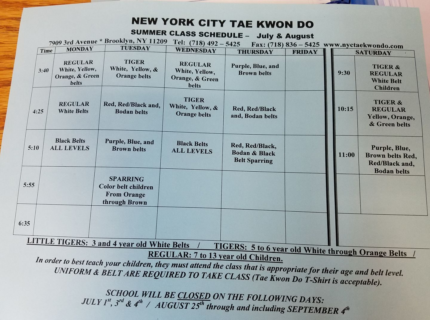 nyc tae kwon do classes bay ridge