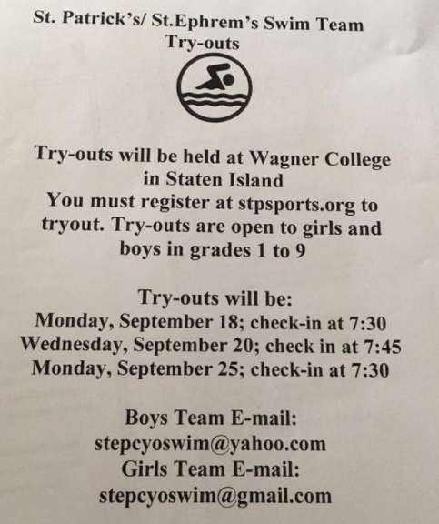 Tryouts for Saint Pats Swim Team St. Ephrem Swimming Girls and Boys
