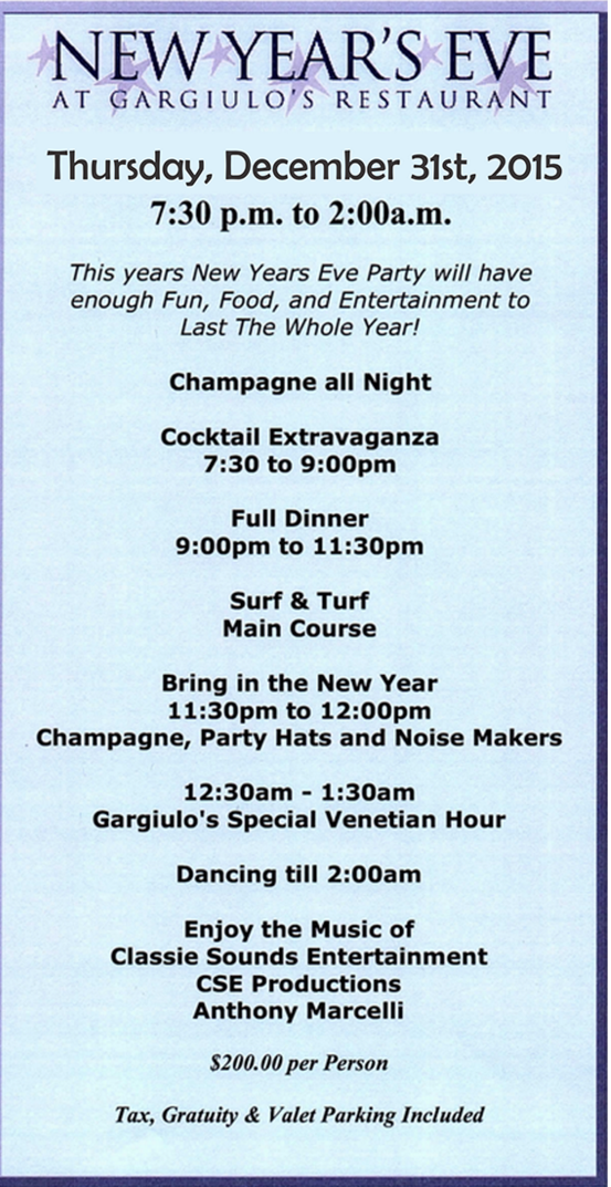 garguillos new years eve 2015