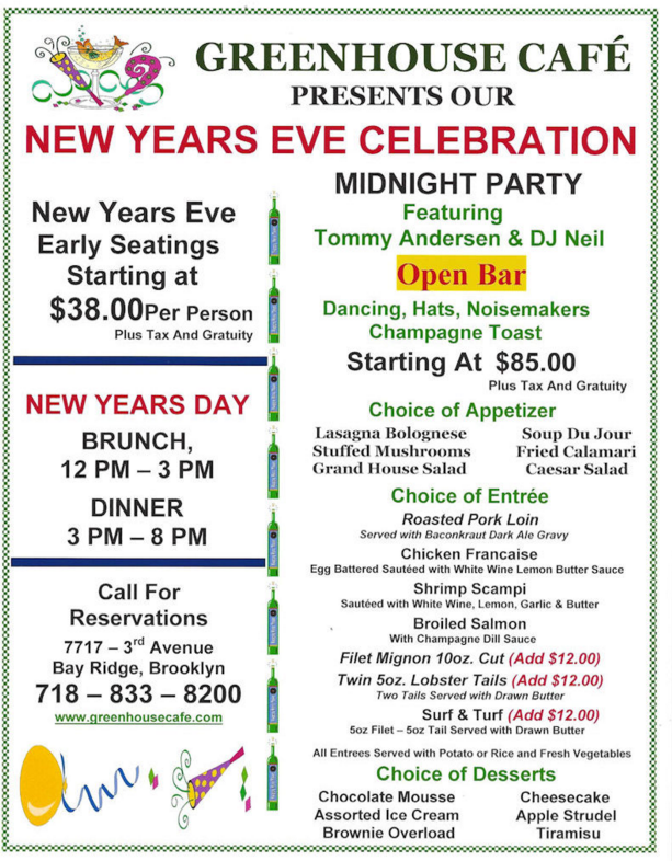 new years eve bay ridge dinner