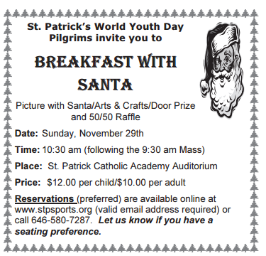 st pats breakfast with santa 2015