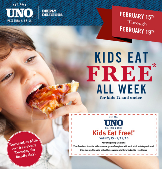 Kids Eat Free Every Tuesday at UNO Chicago Grill - Henrietta Every Tuesday is Family Day at UNO! One free kids pizza or kids entree with each adult entree purchased.