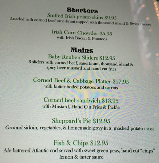 kettle black st. patricks day menu
