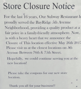subway 5th avenue brooklyn 11209 closed