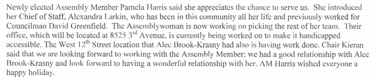 pamela harris said her office in bay ridge