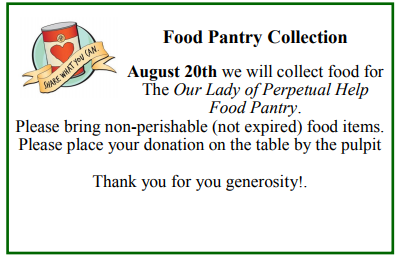 Food, Pantry Collection at St. Ephrem on August 20th