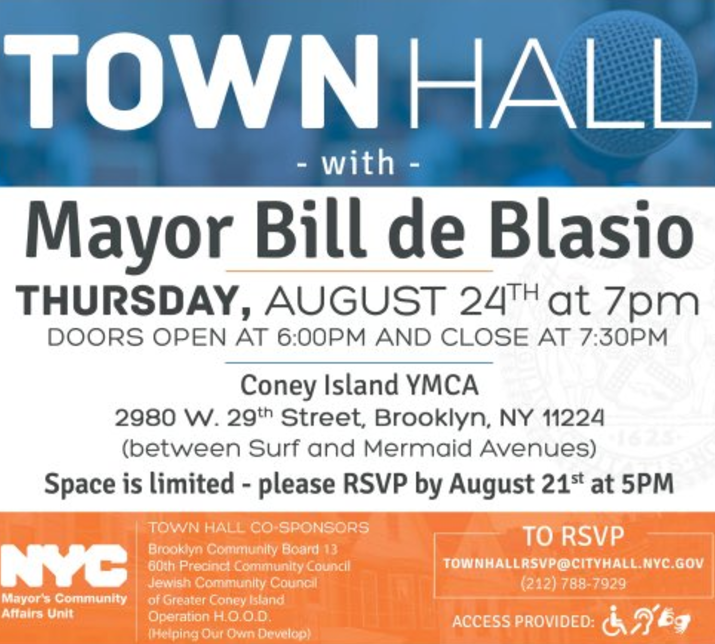 town hall with bill deblasio august 24th coney island
