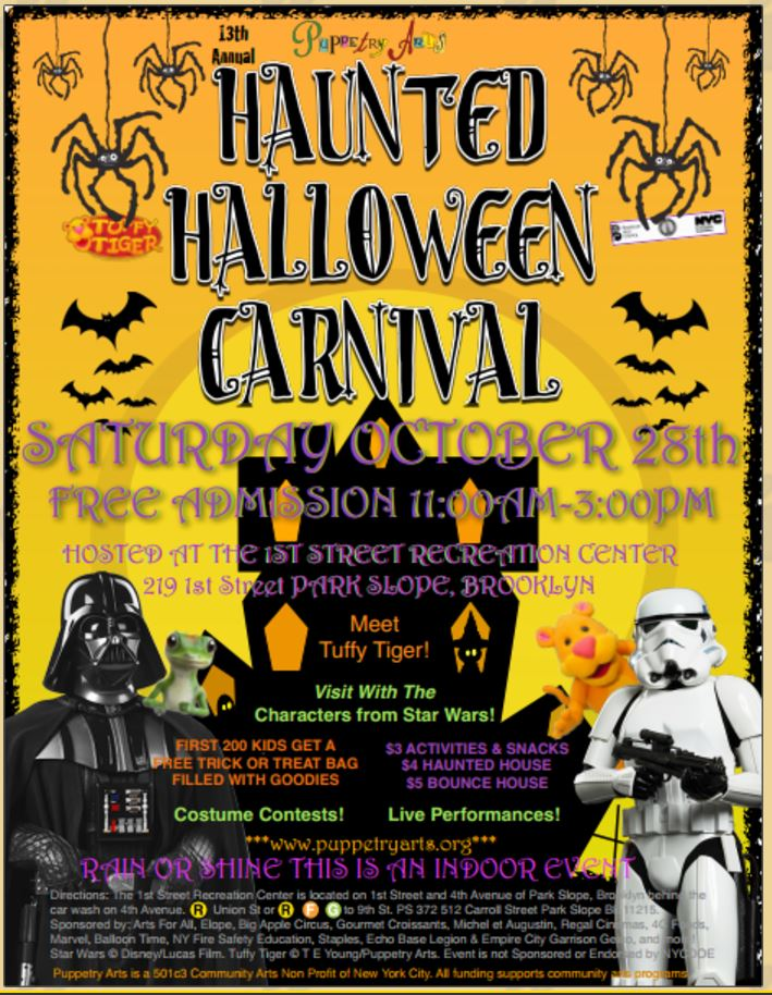 october 28th indoor halloween carnival by the first street recreation center - Halloween Store 14th Street Nyc