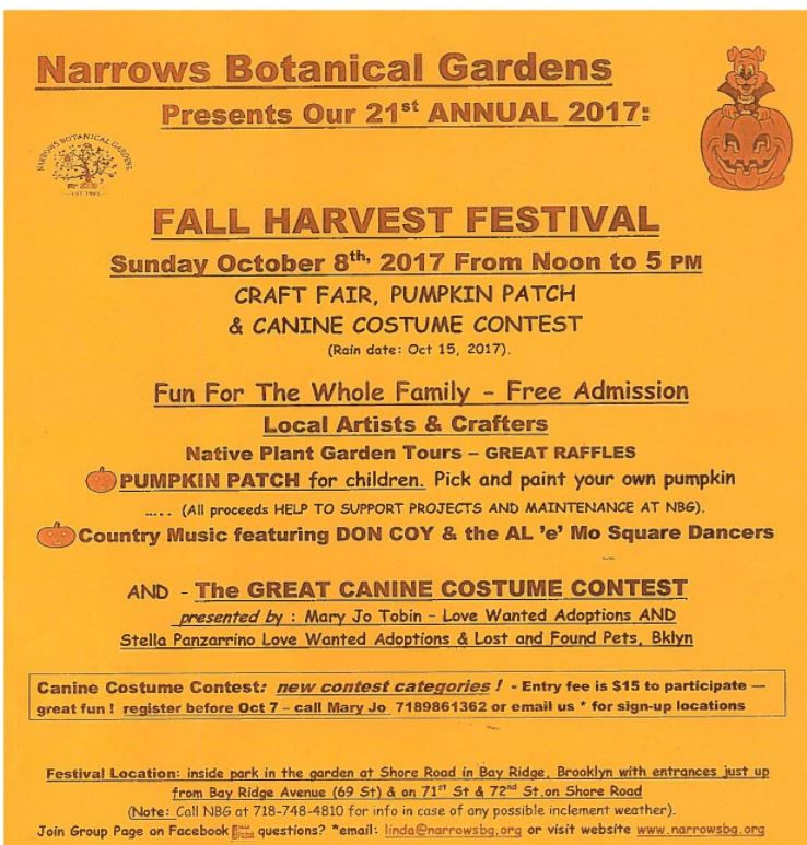see other fall and halloween events in bay ridge and brooklyn here - Garden By The Bay Fee