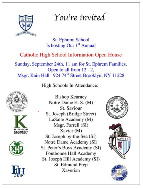 Catholic HIgh School Open House - Brooklyn - September 2017