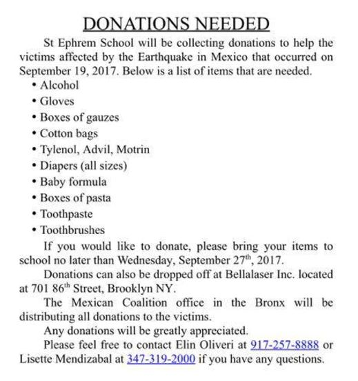 saint ephrem is collecting items for Mexico