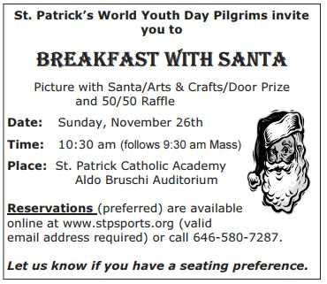 St. Patrick's Church breakfast with santa clause