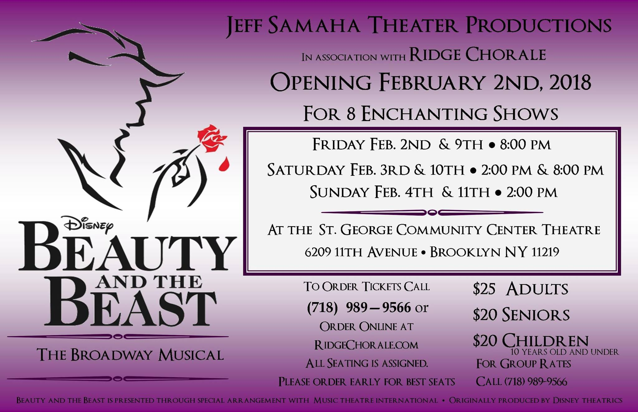 Beauty and the Beast in Bay Ridge - February 2018 - Tickets on Sale Now!
