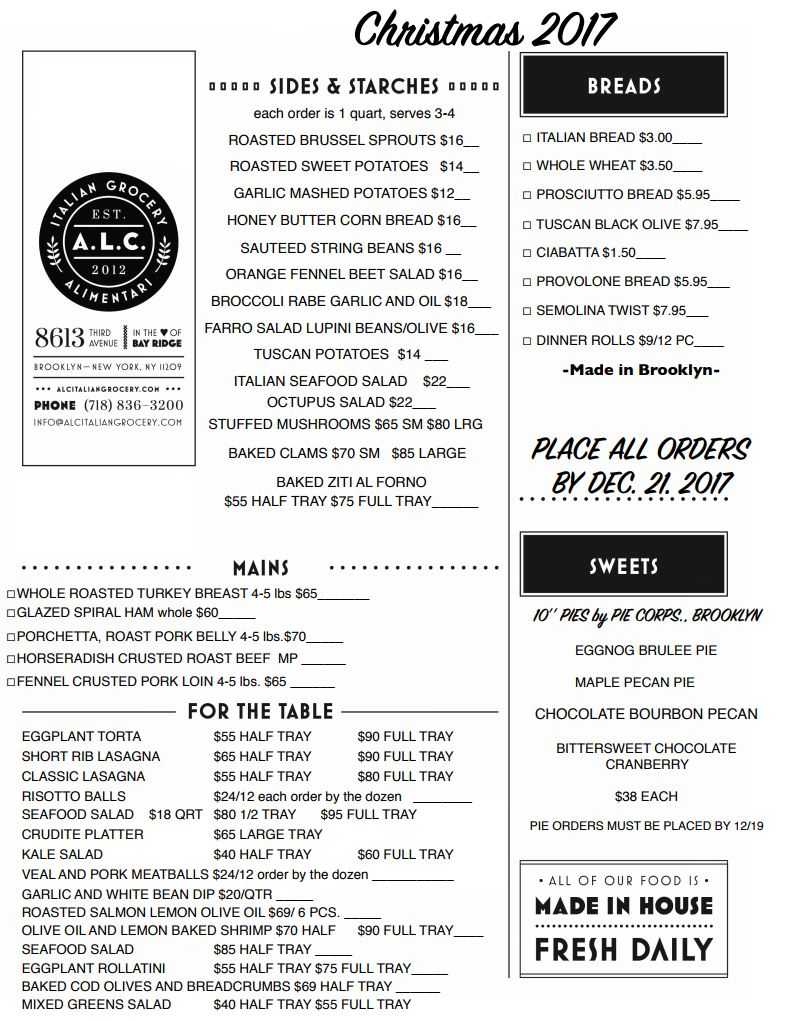 alc christmas menu