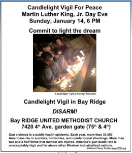 Candlelight Vigil for Peace Bay Ridge January 14th at 6 pm