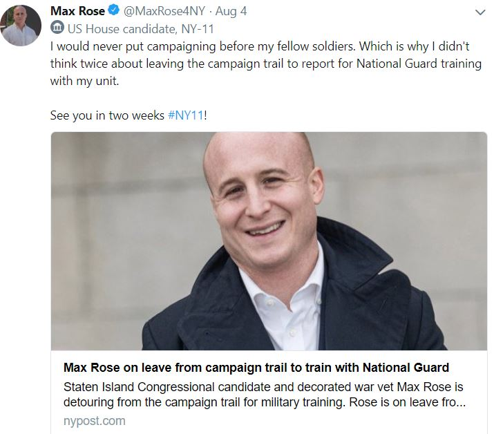 max rose seves in the national guard