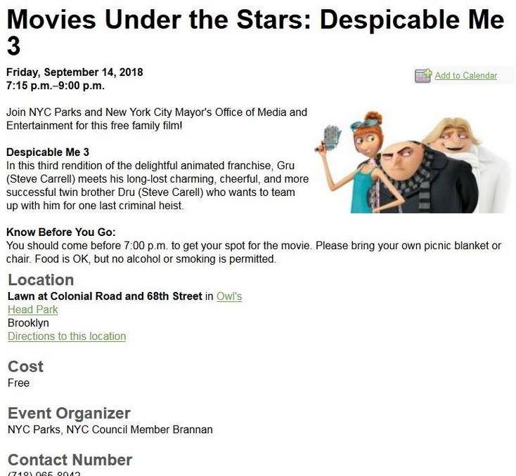 shore road park bay ridge free movie night September 14, 2018