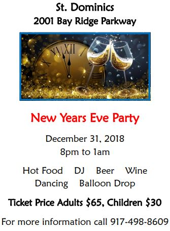 St. Dominics New Years Eve Party Brooklyn