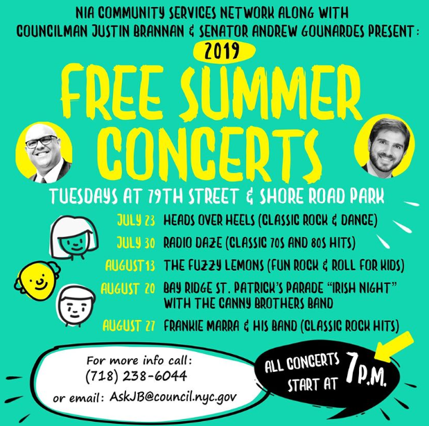 bay ridge free summer concerts summer 2019 july august